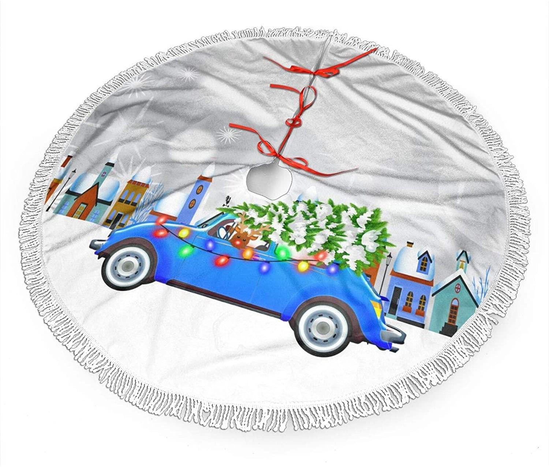 WEREWTR Little Blue Car & Tree Christmas Custom Ceramic Small Christmas Tree Skirt 36