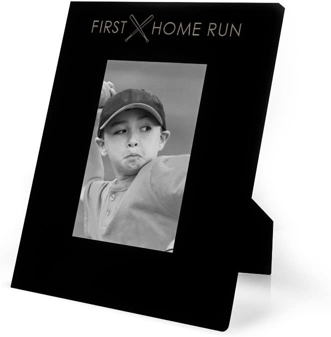 First Home Run Frame | Engraved Baseball Picture Frame by ChalkTalk Sports | Vertical 4X6