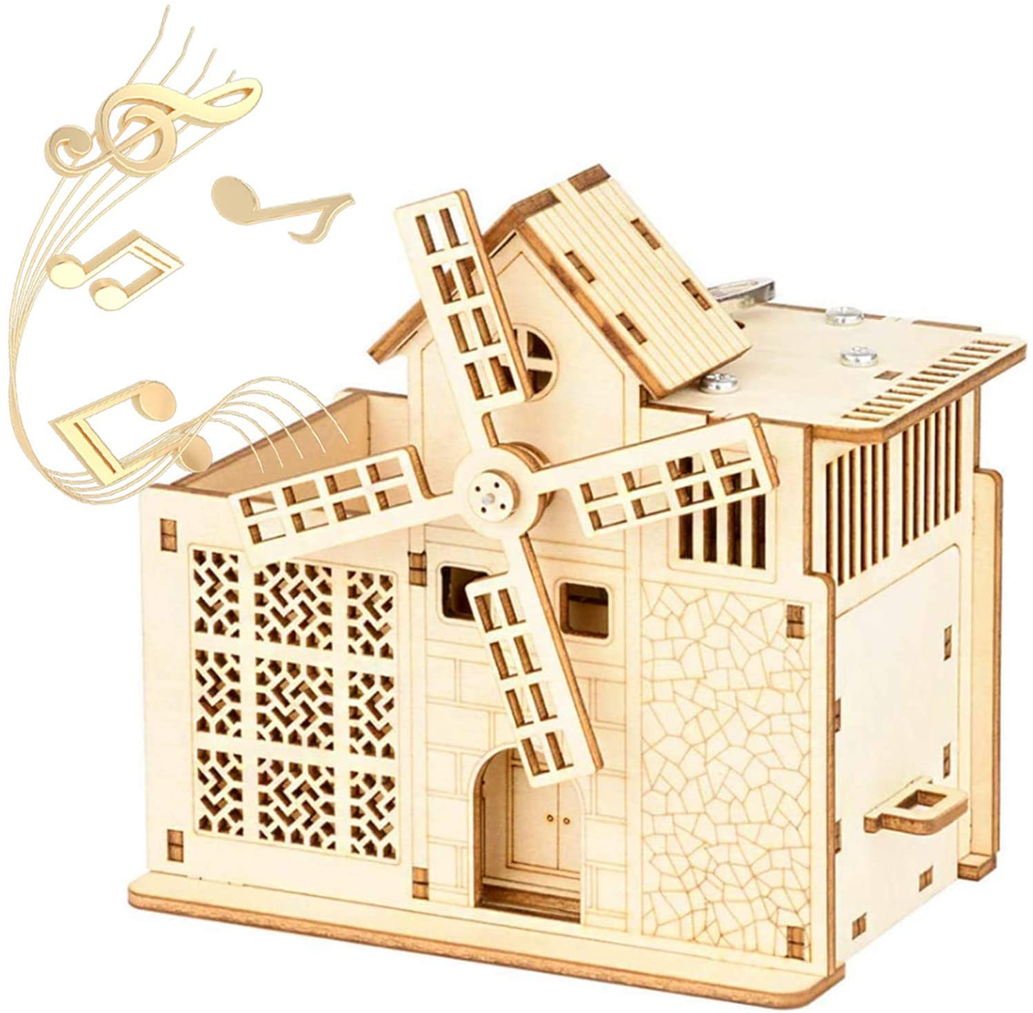 GeBogy Mechanical Music Box for Tune Castle in The Sky Pen Holder Storage Drawer 3D Wooden Assembly Puzzle Windmill DIY Wood Multi-Functions Toy As Gifts for Kids Adults