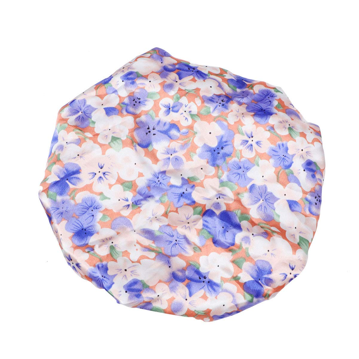 EXCEART Kids Satin Bonnet Double Layer Night Sleeping Cap Adjustable Showering Bath Hat Head Wrap Cover For Toddler Children Baby (Blue Flower)