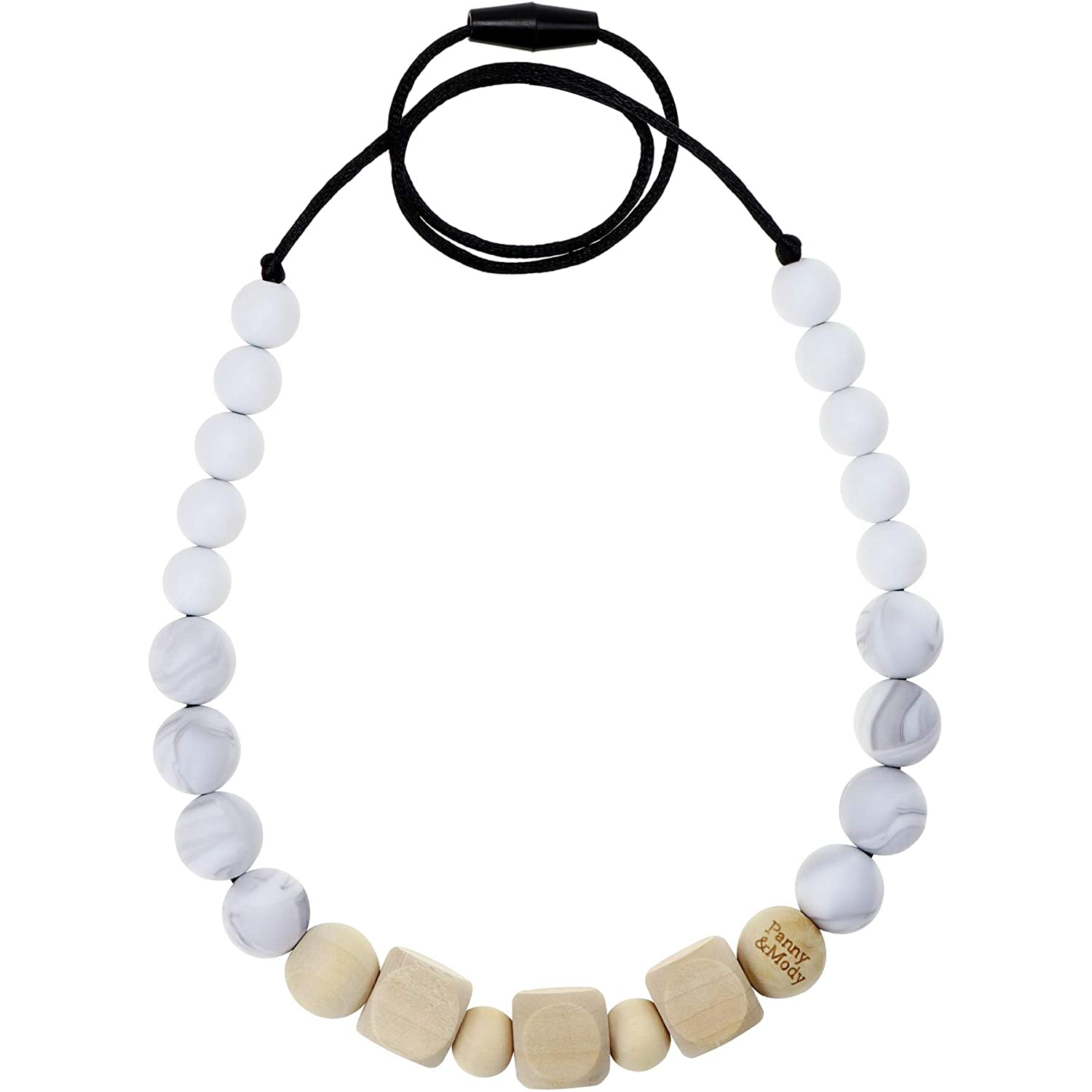 Baby Teething Necklace for Mom to Wear, Panny & Mody Nursing Necklace with Chewable Silicone and Wooden Beads for Teething Relief(Marble)