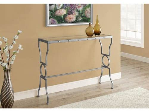 Hawthorne Ave Console Table - Silver Metal with Tempered Glass