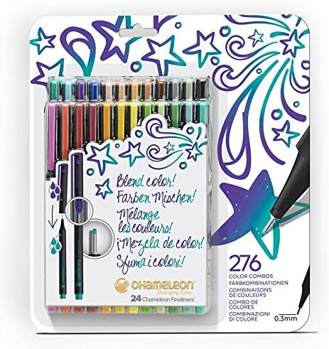 Chameleon, Fineliner Pens, Coloring/Drawing Markers - Bold Colors, Set of 24