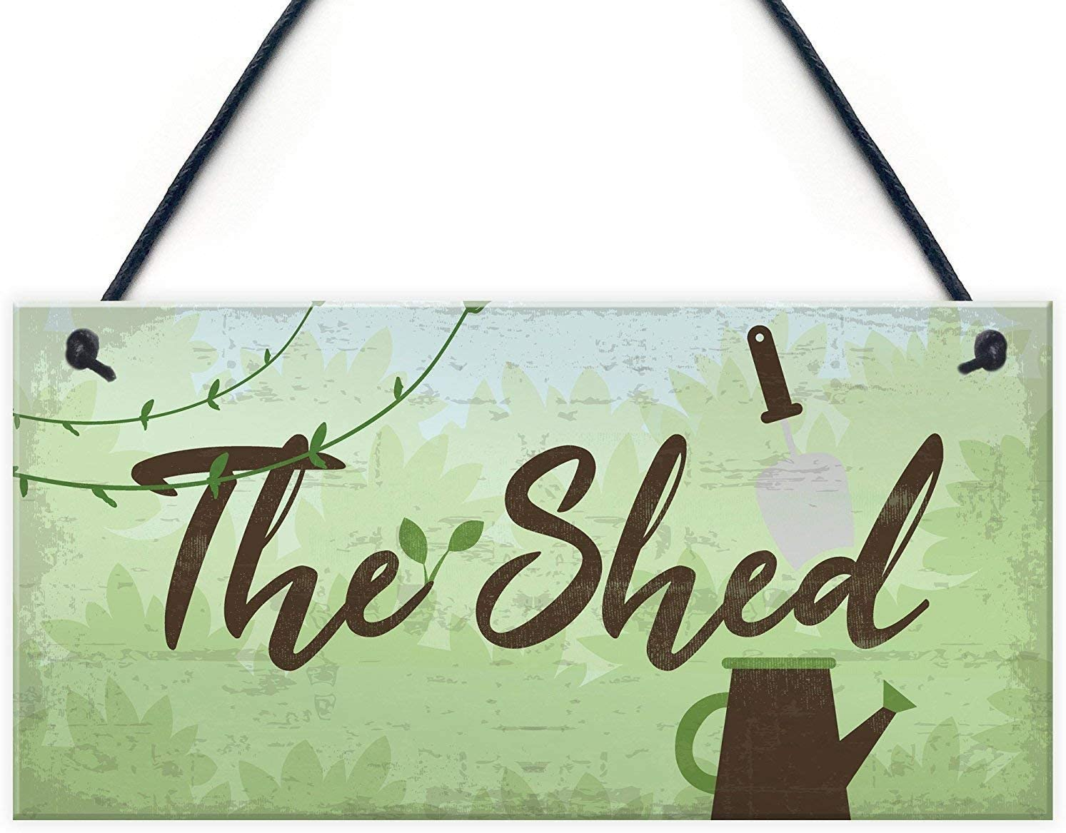 POWERMAZ The Shed Wood Signs Plaques Greenhouse Garden Sign for Dad Grandad Mum Nan Birthday Gift 12x6(BW1914)