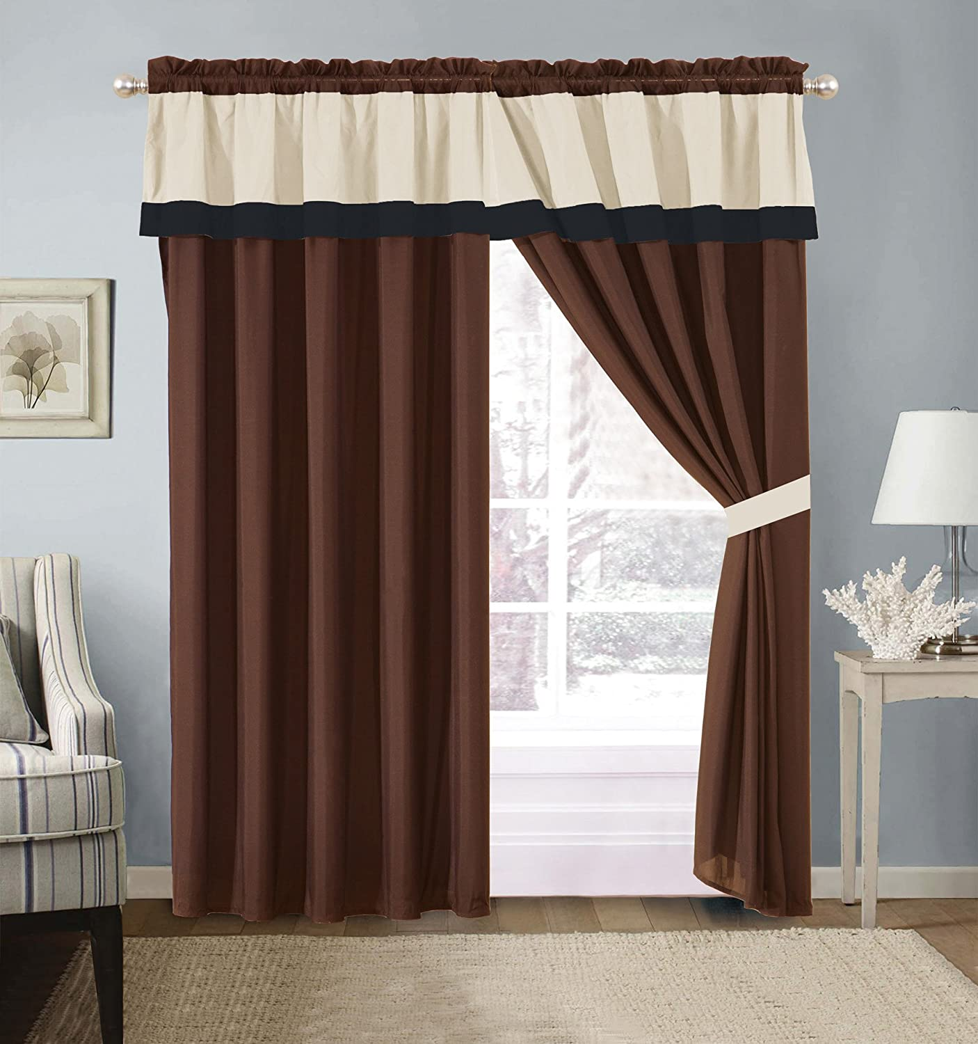Grand Linen 4 Piece Milan Brown/Black/Beige Color Block Curtain Set with Attached Valance and Sheers