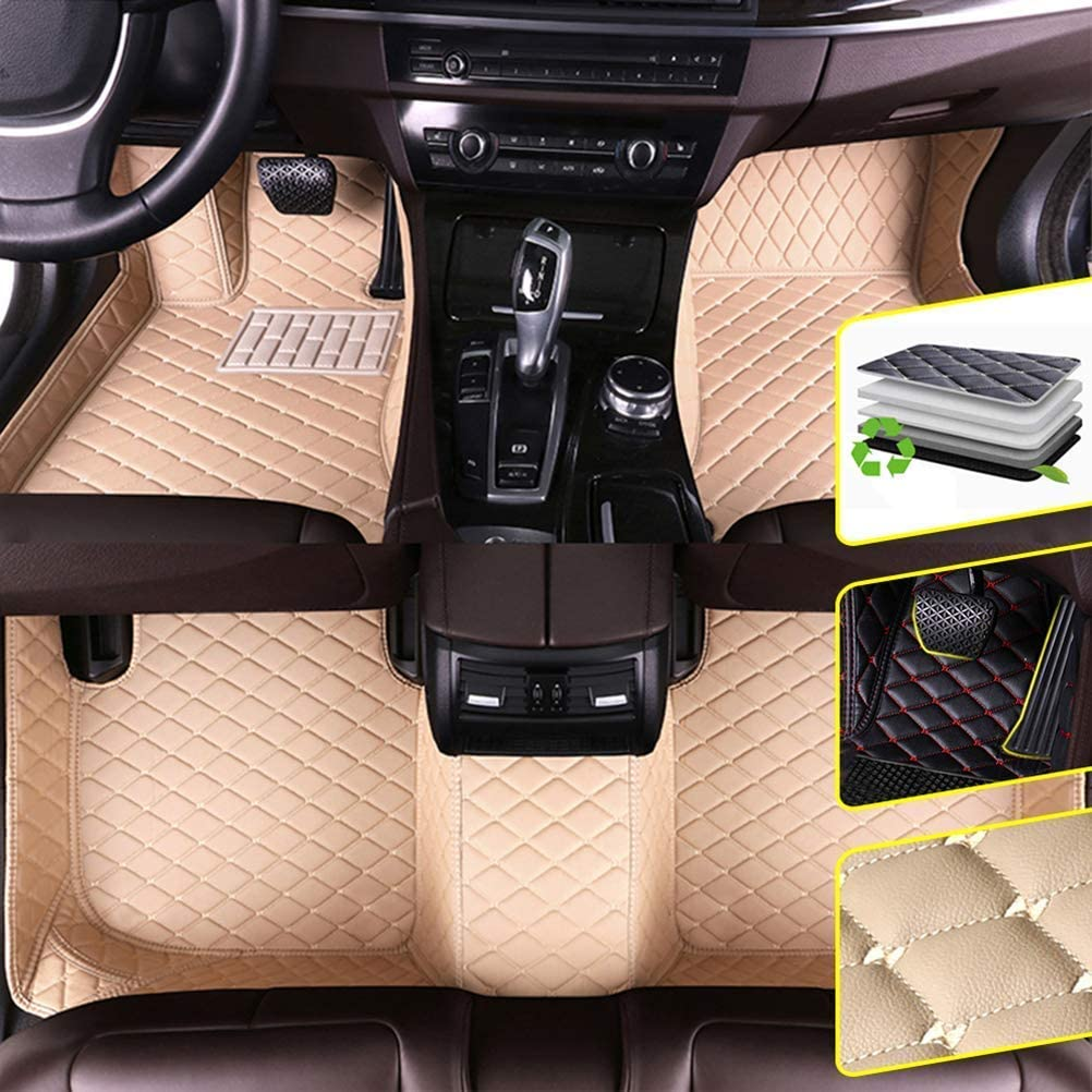 DBL Custom Car Floor Mats for Land Rover 2013-2017 Range Rover 5-Seat Waterproof Non-Slip Leather Carpets Automotive Interior Accessories 1 Set Beige