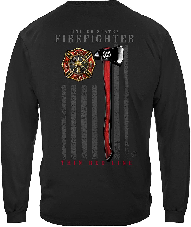 Erazor Bits Firefighter Long Sleeves Firefighter Patriotic Flag Axe FF2443LS