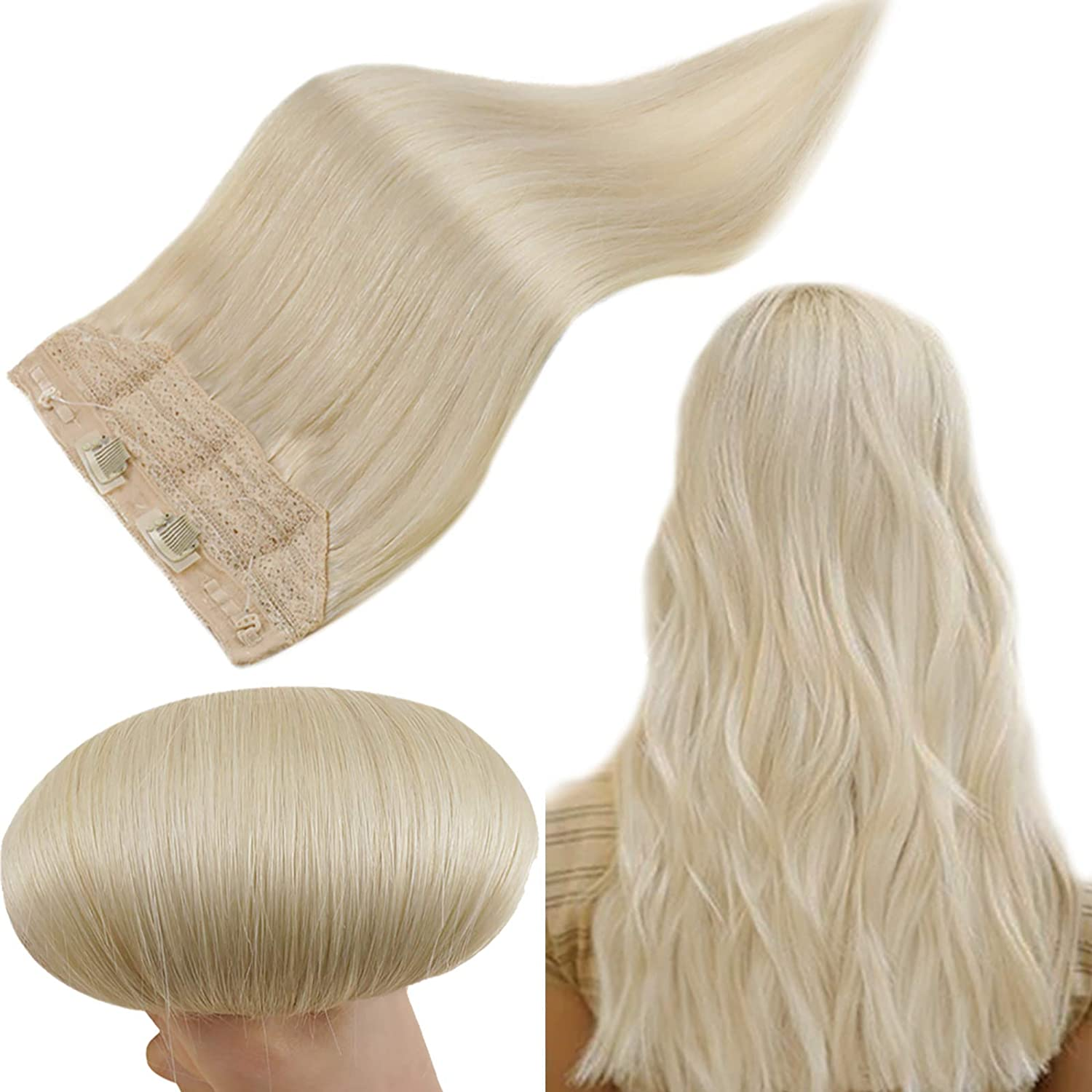 Runature Wire Hair Extension 14 Inches Color 60 Platinum Blonde 70 Gram Halo Hair Extensions One Piece Human Hair with Transparent Line for Women