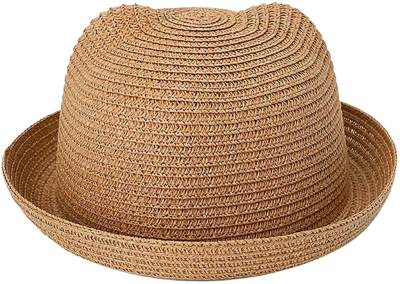 Kids Anti-UV Straw Sun Hat Cat Ear Summer Cap for Girl Boys Bucket Hat