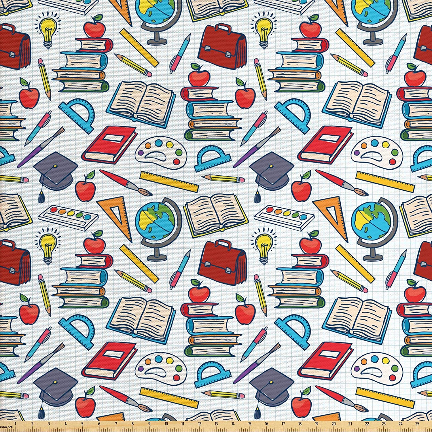 Ambesonne School Fabric by The Yard, Elementary School Theme Student Supplies Globe Paints and Brushes Books Education, Decorative Fabric for Upholstery and Home Accents, 2 Yards, Blue Red