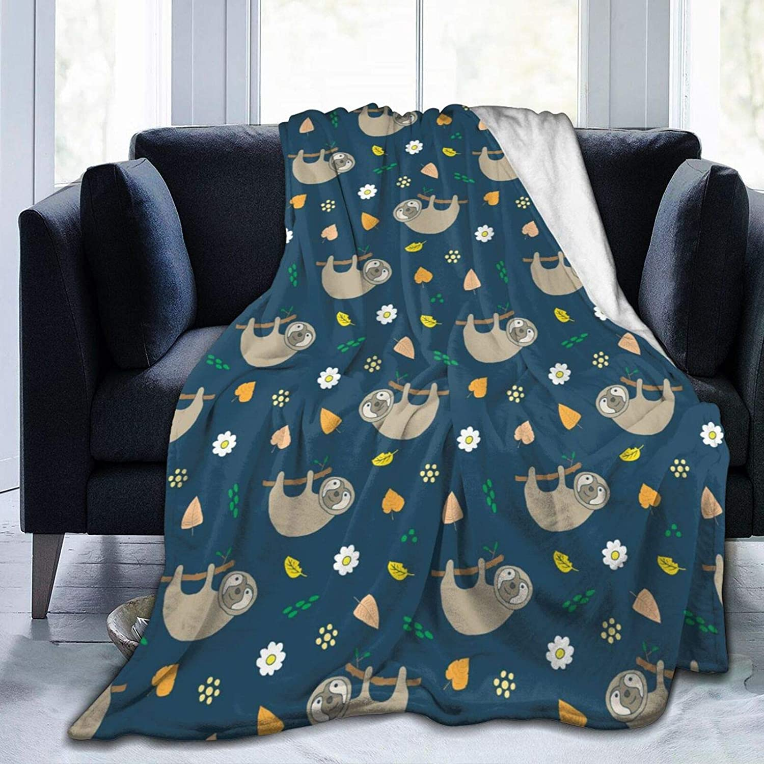 QSmx Fleece Blankets,Cute Sloth Cartoon Doodles Animal Super Soft Fuzzy Blankets and Throws,Warm Flannel Dog Blanket Outdoor Travel Picnic Blankets for Adults Kids,Twin Size 60x50 inch