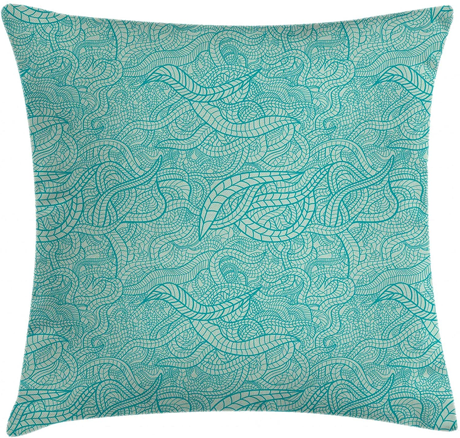 Ambesonne Aqua Throw Pillow Cushion Cover, Vintage Botanic Nature Leaves Veins Swirls Ivy Mosaic Inspired Image Print, Decorative Square Accent Pillow Case, 16
