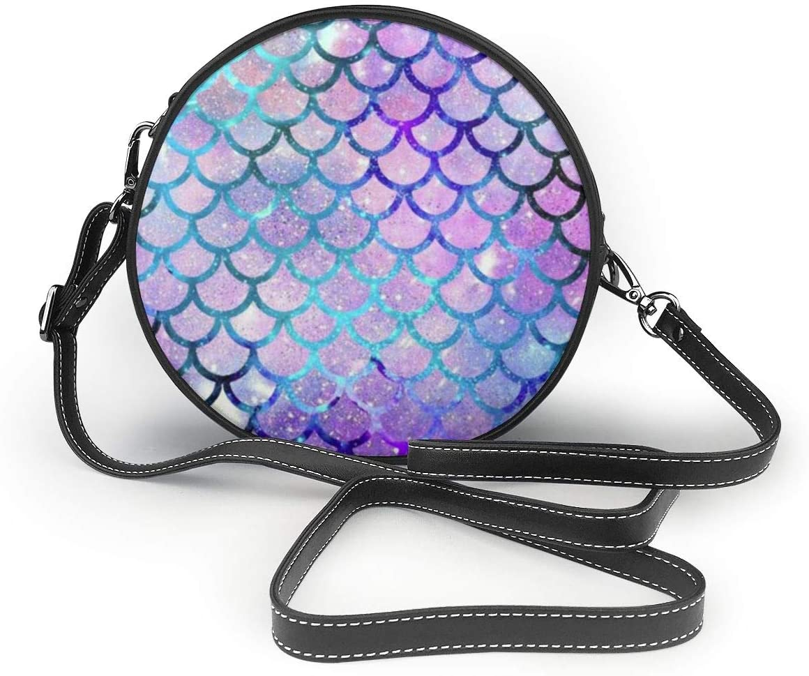 YongColer Women Round Shoulder Bag Evening Bridal Prom Party Clutch Handbag Purse Fashion Circle Crossbody Wallet - Mermaid Scales with Galaxy