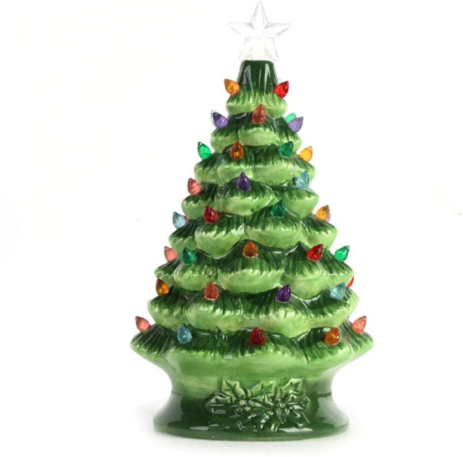 Pumpumly Cordless Lighted Ceramic Christmas Tree Tabletop Christmas Decoration Mini Light Bulbs