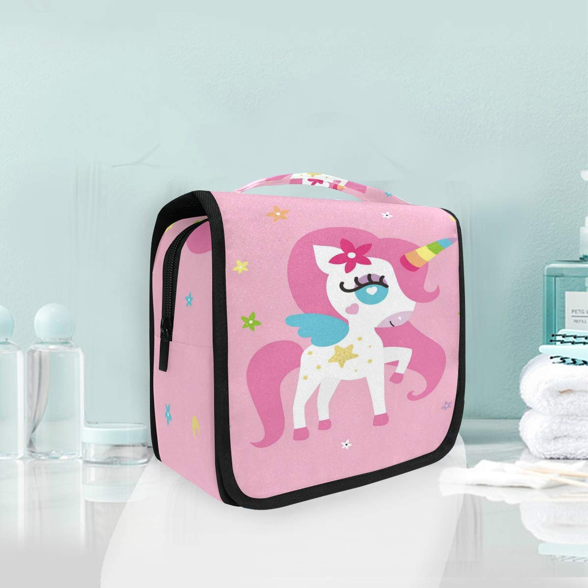 Hanging Toiletry Bag Pony Unicorn Portable Cosmetic Makeup Travel Organizer for Men & Women with Sturdy Hook