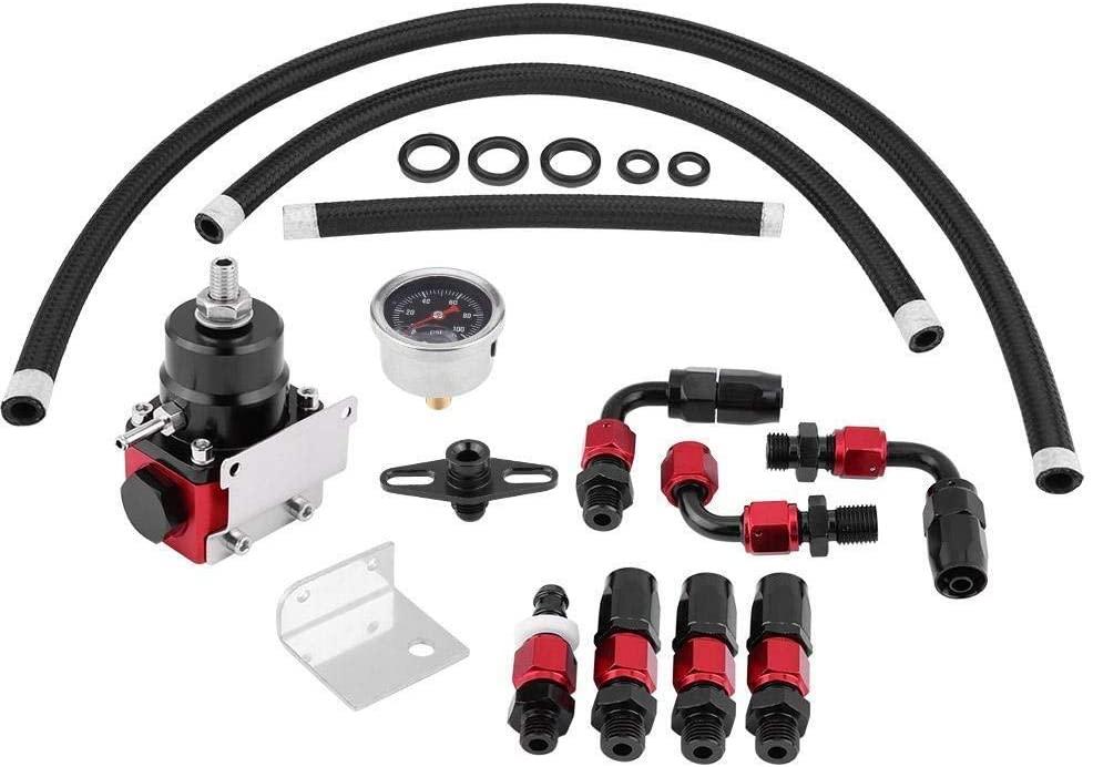 Conlense Adjustable Fuel Pressure Regulator, Universal Adjustable Fuel Pressure Regulator Kit Oil 0-100psi Gauge an 6 Fitting End