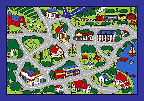 Children's Playful City 5x7 Rug GrayTrain Park Roads School Actual Size 6'10 x 4'11
