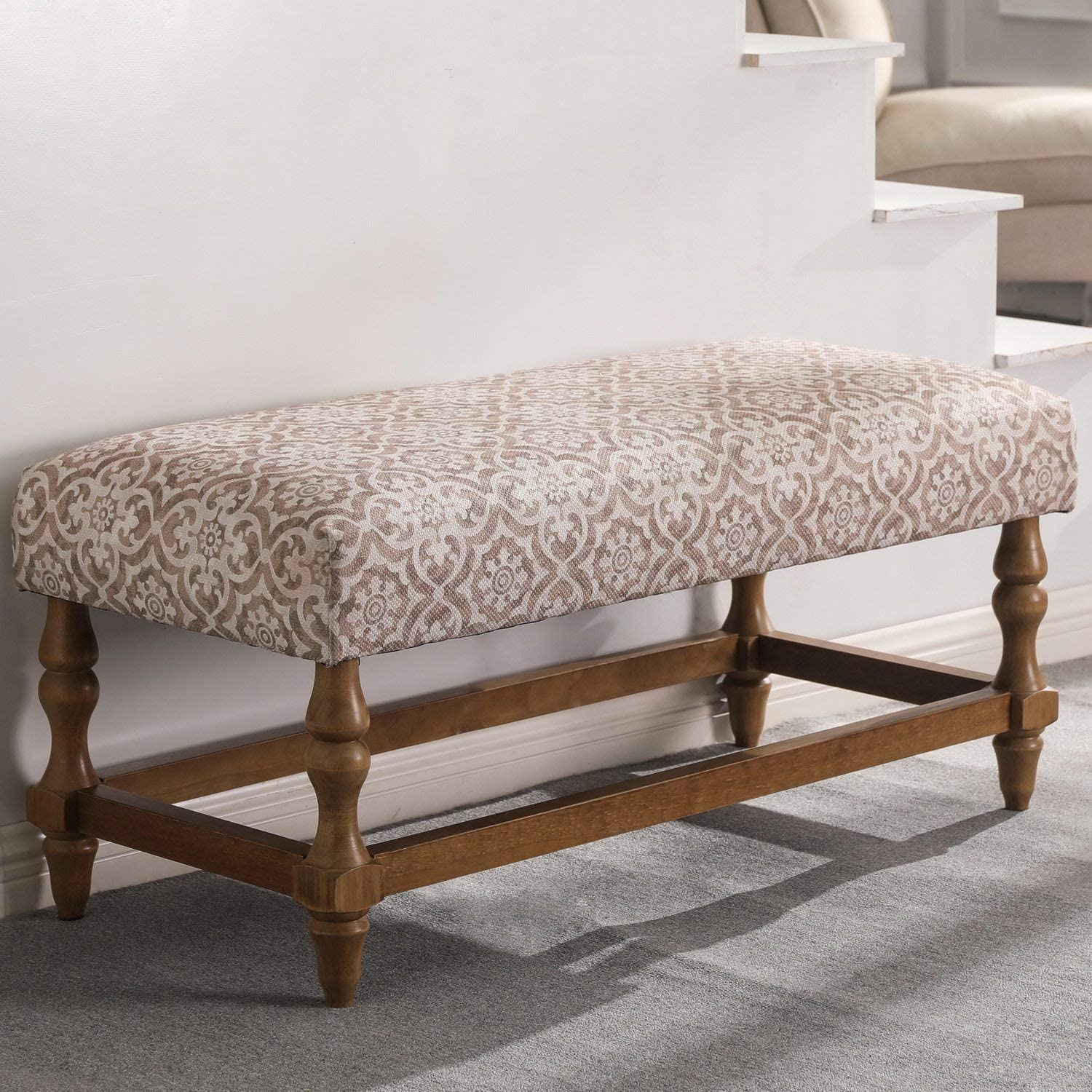 Farmhouse Upholstered Entryway Bench with Wood Legs, Printed Rustic Entry Bench, Dining Bench for Entryway, Bedroom, Mudroom, Living Room