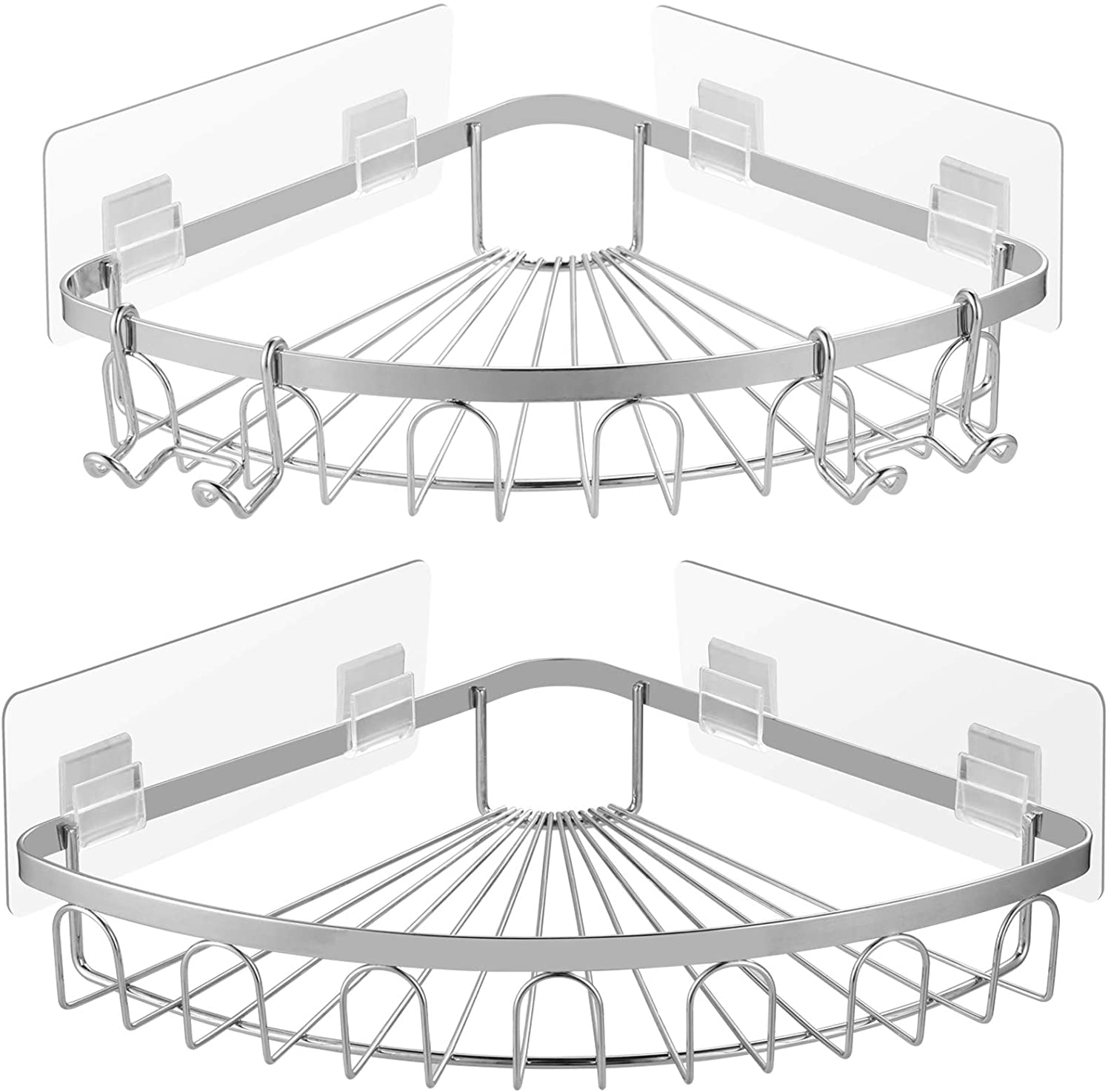 Carwiner Adhesive Corner Shower Caddy 2-Pack, Wall Mounted Bathroom Shelf, 304 Stainless Steel Wide Space Shower Shelf with Hooks, Hanging Storage Organizer Strong and Sturdy for Kitchen No Drilling