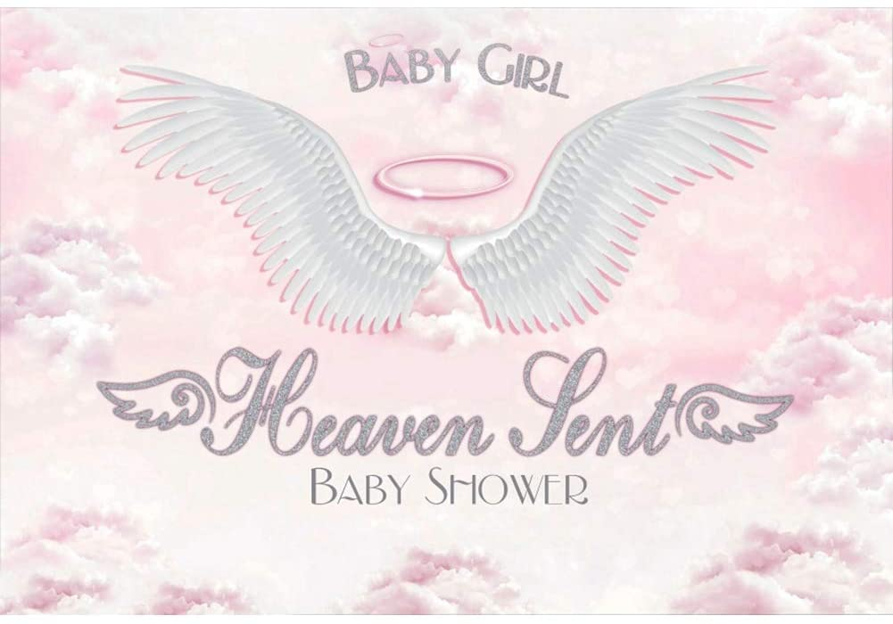CSFOTO 10x8ft Baby Shower Backdrop for Baby Girl Angel Wings Heaven Clouds Baby Shower Banner Background for Photography Kids Girls Newborn Photo Wallapper