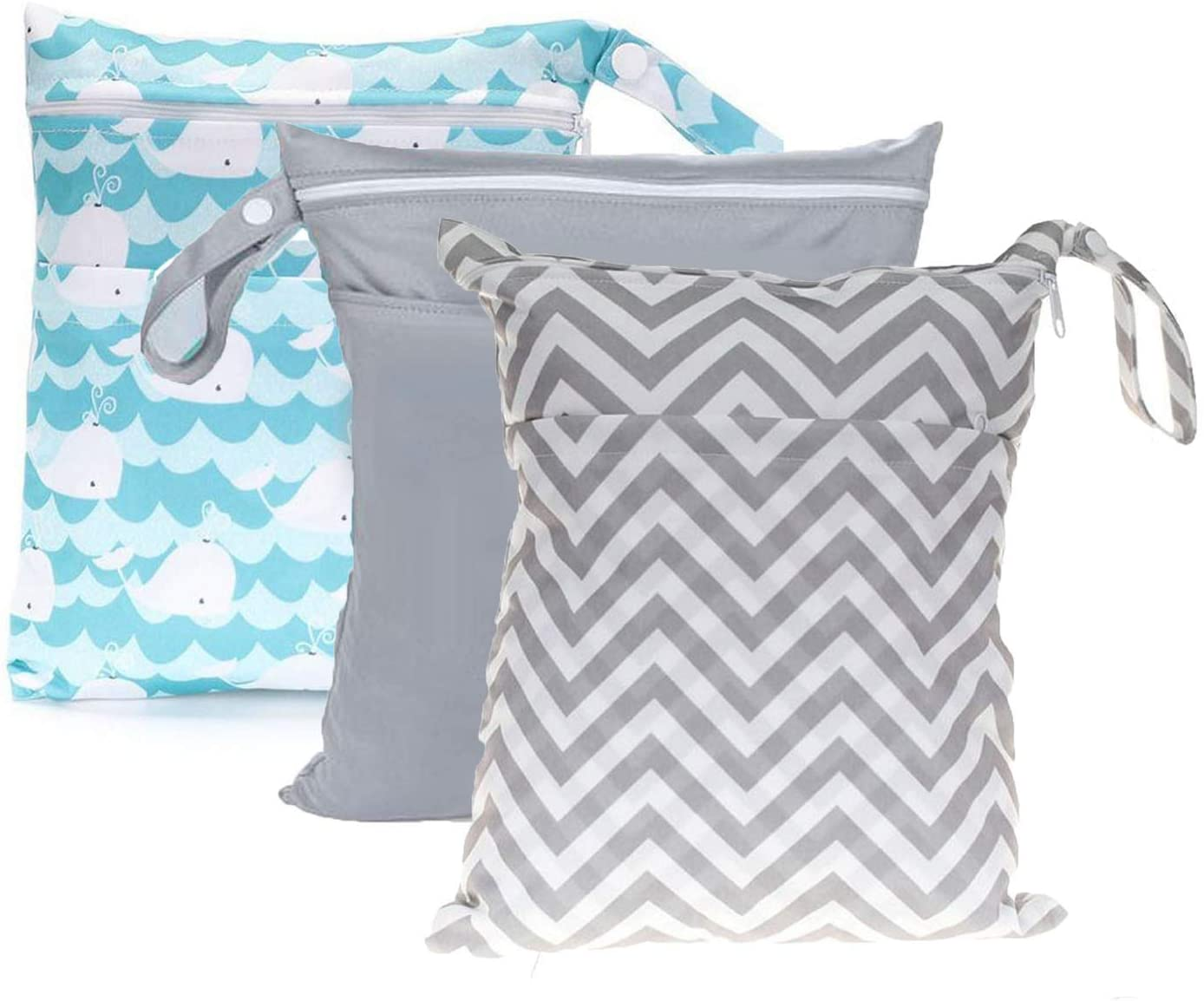 TLoowy-Clearance Wet Dry Bags for Baby Cloth Diapers, Washable Travel Bags, Beach, Pool, Gym Bag for Swimsuits & Wet Clothes with Dual Zipper Pockets 3 Pack
