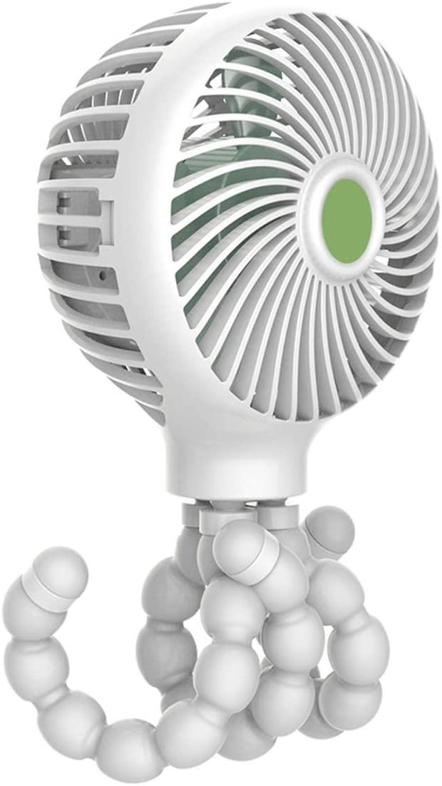 Owlike USB Mini Handheld Fan, Baby Stroller Fan, Car Seat Fan, Desk Fan, with Flexible Tripod Fix on Stroller 3 Speeds (Grey)