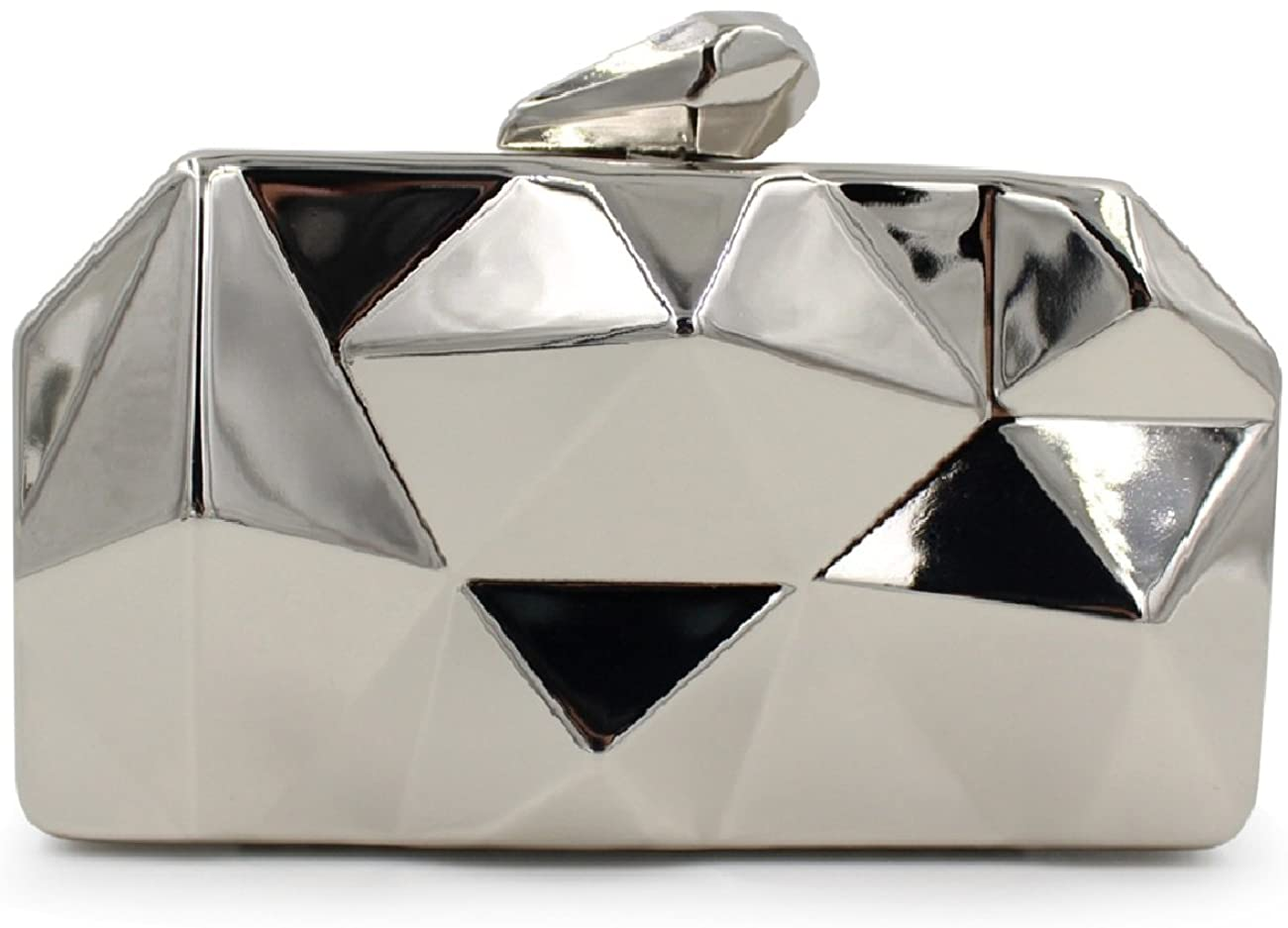 Clutch Bag, Fit & Wit Womens Alloy Metal Abstract Stone Clutch Purse Evening Cocktail Wedding Party Handbag