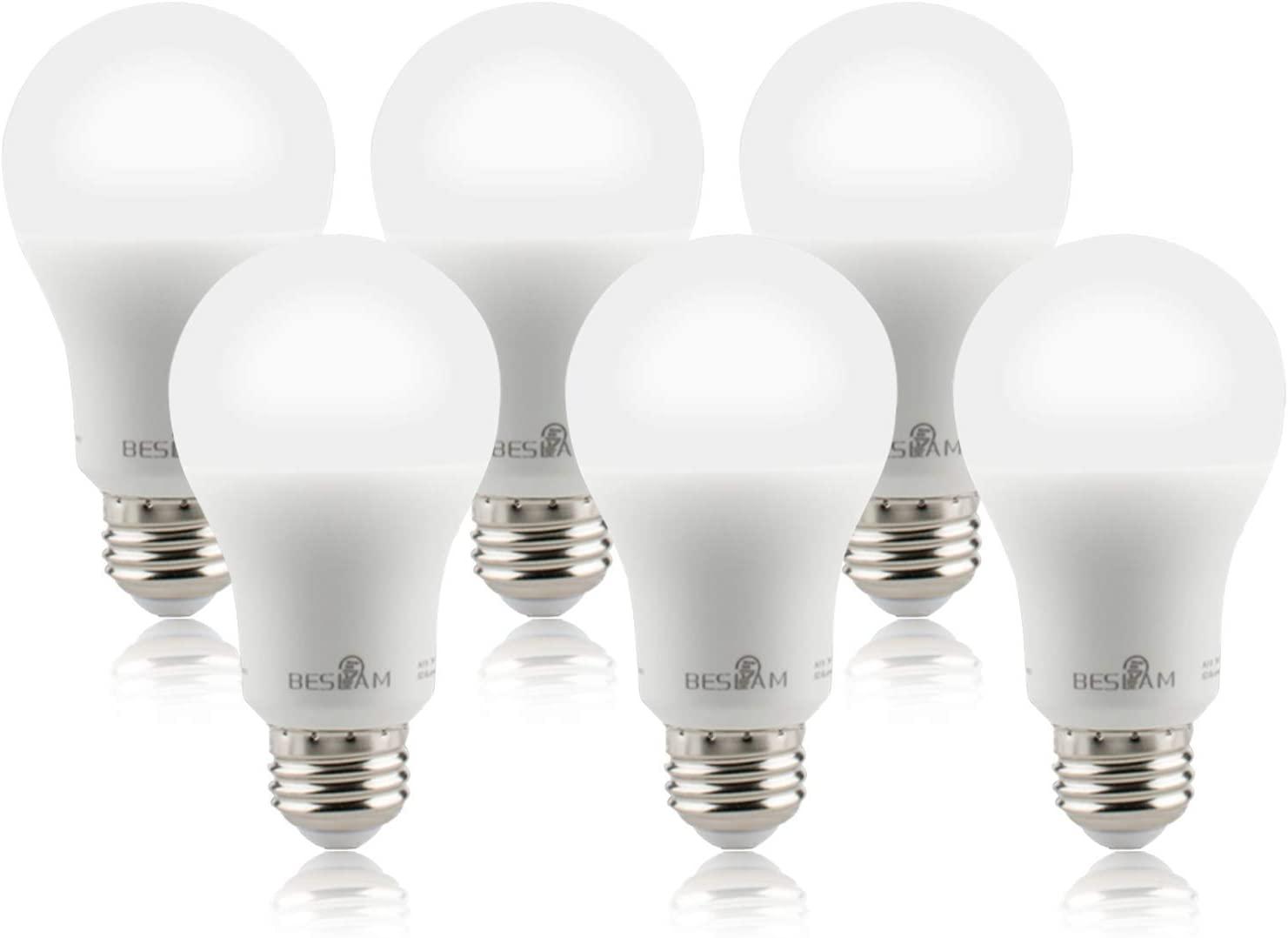 BESLAM Light Bulbs 40 Watt Equivalent(7 Watt) Cool White 5000K Daylight LED Dimmable A19 Bulb, Energy Star & Long Life, E26 Base, 520 Lumens, UL Listed, 6 Pack