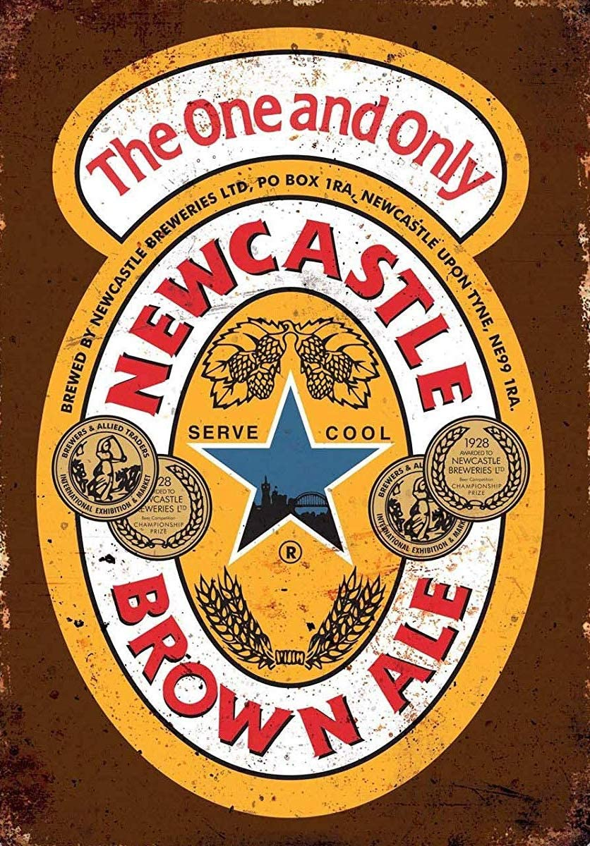 NDTS Newcastle Brown Ale Drink Vintage Tin Sign Metal Decor Metal Sign Wall Metal Tin Sign Metal Sign 8X12 Inches
