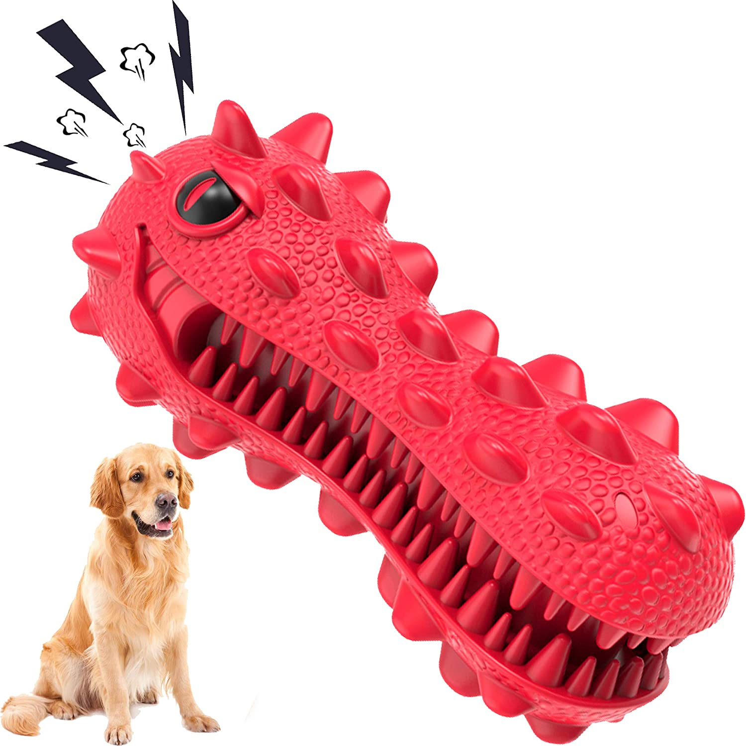 SHANFEEK Dog Chew Toys for Aggressive Chewers Large Breed Squeaky Dog Toys for Medium Dog Toothbrush Indestructible Dog Toys Large Breed Puppy Teething Chew Toys …