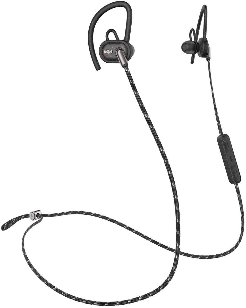 House of Marley, Uprise In-Ear Headphones 8-hour Battery Life, Sweat-Proof & Weather Resistant , IPX5 Rated, Customizable Fit, Microphone & 3-Button Controls, Tangle-Free Braided Cable Black