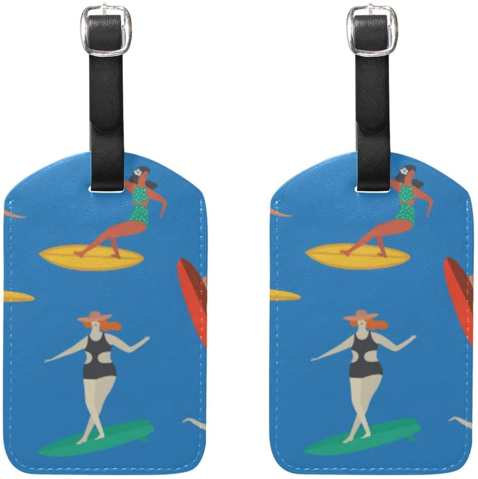 Luggage Tags Woman On The Beach Suitcase Baggage Labels 2pcs
