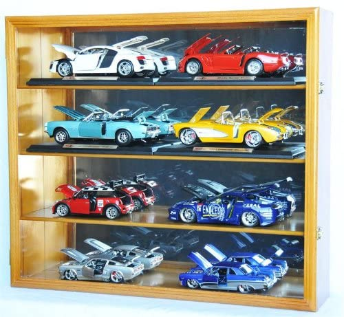 1/18 Scale Diecast Display Case Cabinet Holder Rack w/UV Protection- Lockable with Mirror Back Model Cars Holds 8
