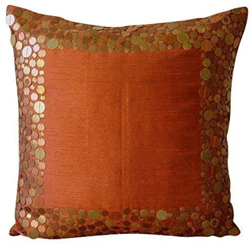 The HomeCentric Luxury Rust Pillow Shams, Metal Sequins Bordered Pillow Sham, 24x24 inch (60x60 cm) Pillow Sham, Square Silk Pillow Sham, Modern Pillow Shams - Rust Glamor