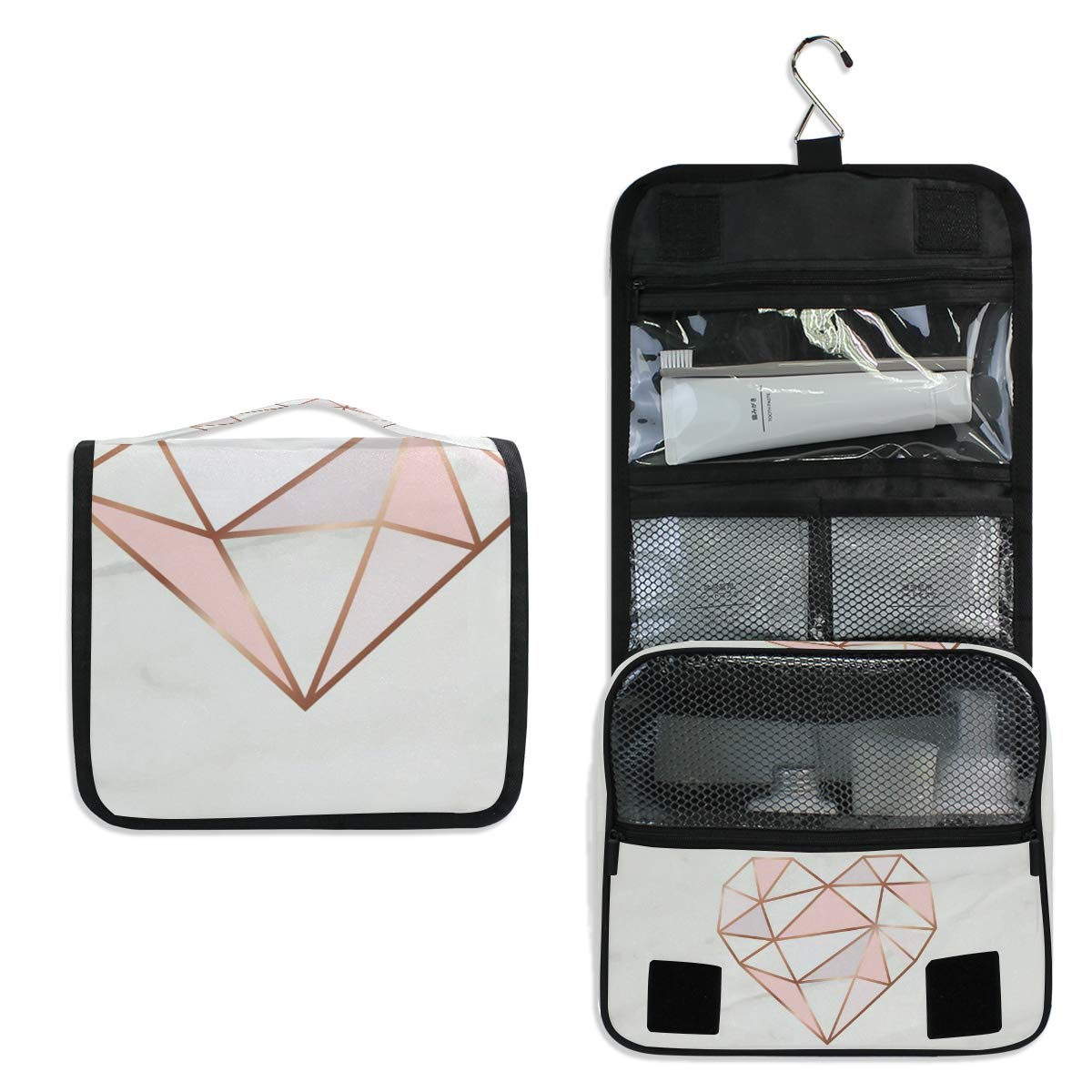 ALAZA White Marble Rose Gold Heart Geometric Travel Toiletry Bag Hanging Multifunction Cosmetic Case Portable Makeup Pouch Organizer with Hook