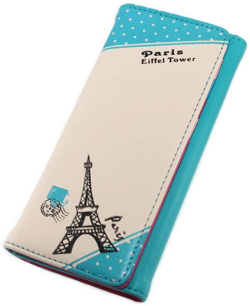 Paris Effiel Tower Cartoon PU Leather Wallet Cash Coin Long Purse Card Holder for Women & Girls (Blue)
