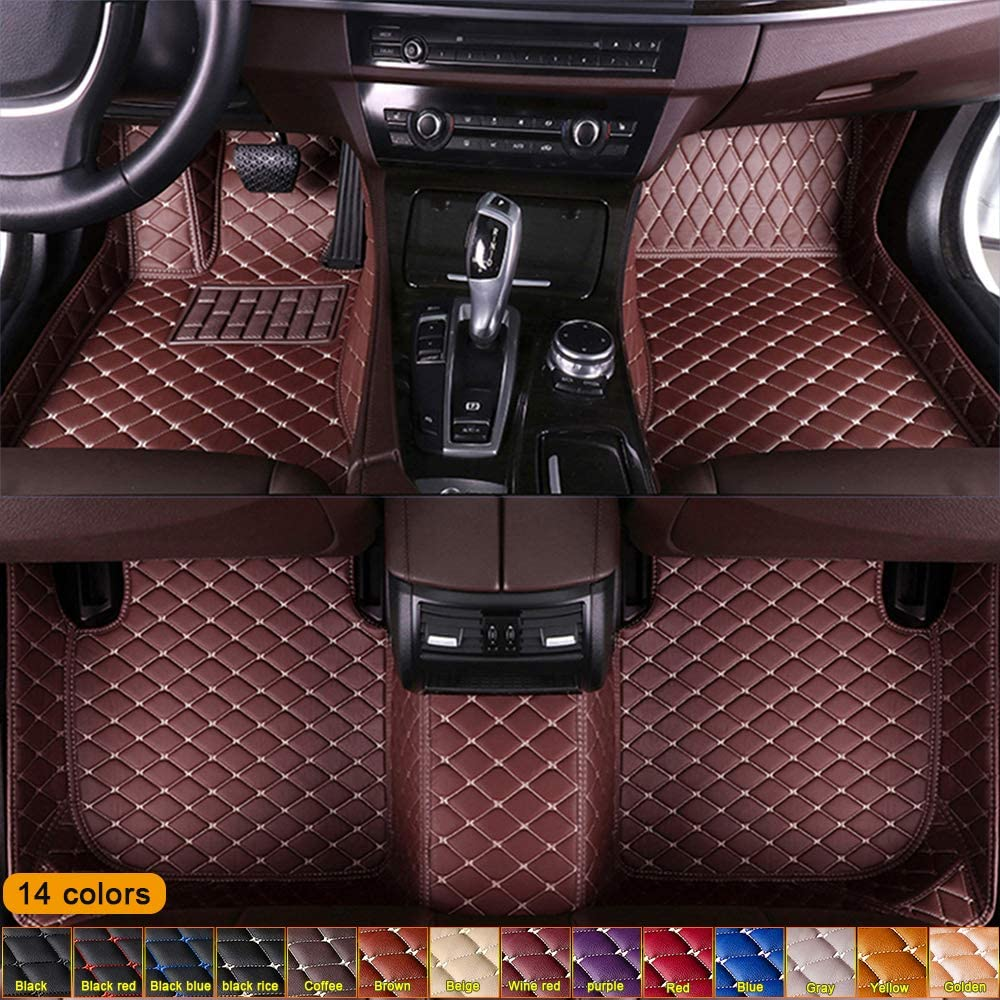 Jiahe Custom for BMW All Models Floor Mats Full Coverage All-Weather Artificial Leather Protection Mat Waterproof & Dustproof Coffee Color