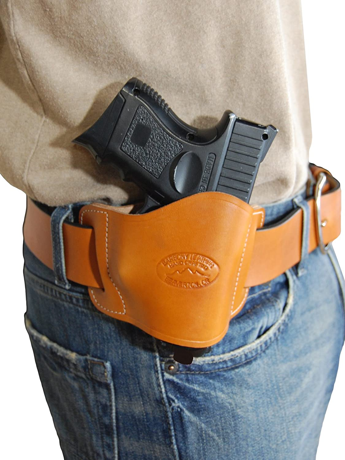 Barsony New Quick Slide Gun OWB Saddle Tan Leather Holster for Compact 9mm 40 45 Pistols