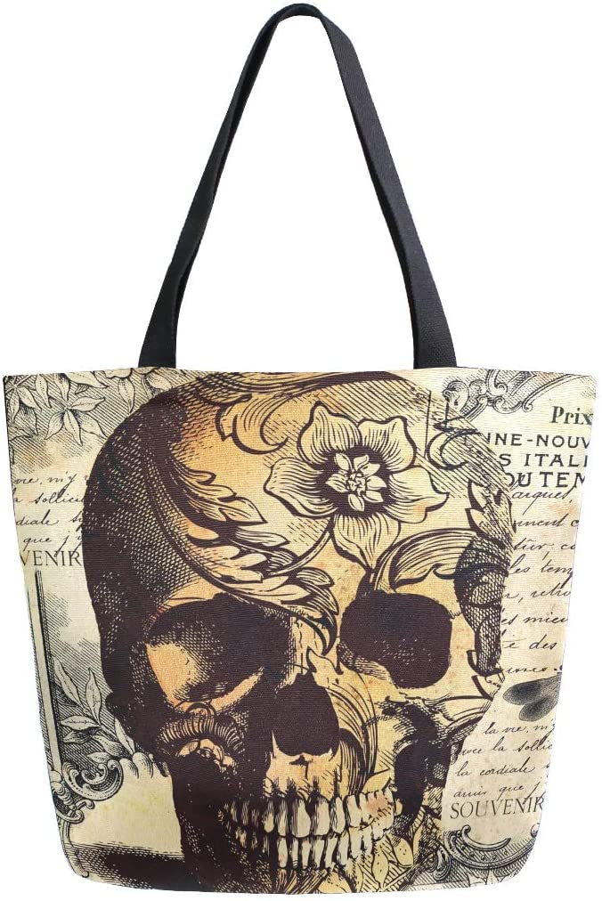 ALAZA Retro Skull Flower Letter Canvas Tote Bag Washable Grocery Tote Bag