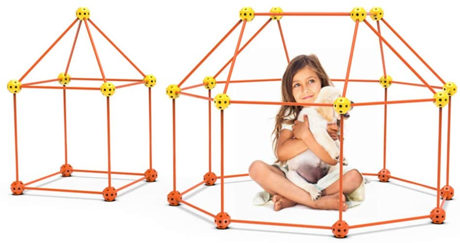 Dbzz Kids Construction Building Kit Set 122 pcs Construction Fort Building Kit DIY Building Castles Tunnels Play Tent Rocket Tower Indoor & Outdoor for Boys Girls