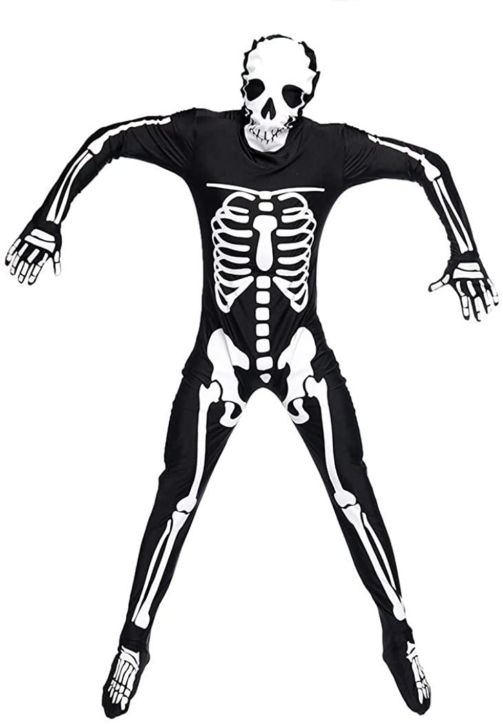 Halloween Costume Skeleton Hood and Gloves Legends of Evil Jumpsuit SIBOSUN Men Clothes Adult - M Size
