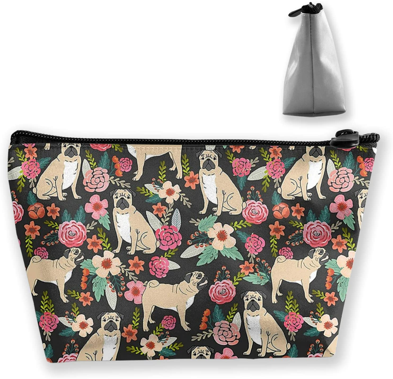 NiYoung Roomy Makeup Bag/Pouch/Purse/Handbag with Zipper Fun Pug Flower Pattern Cosmetic Bag