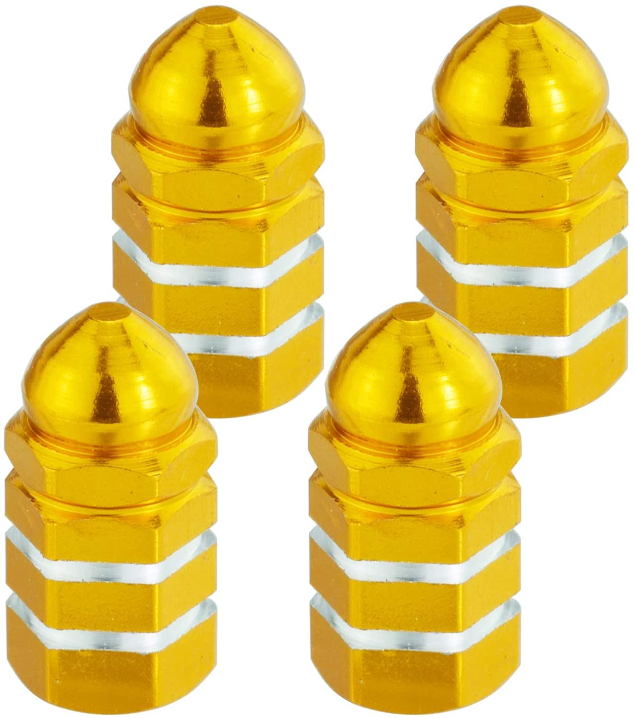 Arenbel Tire Valve Stem Caps of 4 Pack, Alloy Aluminum Metal Rubber Seal Tire Valve Stem Caps, Dust Proof Covers Universal fit for Car, SUV, Bike and Bicycle, (Gold)