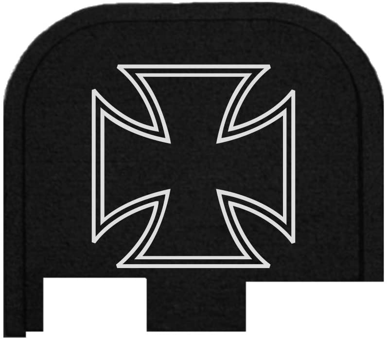 BASTION Laser Engraved Butt Plate, Rear Slide Cover Back Plate for Glock G43, G43X, and G48 9mm ONLY - Iron Cross