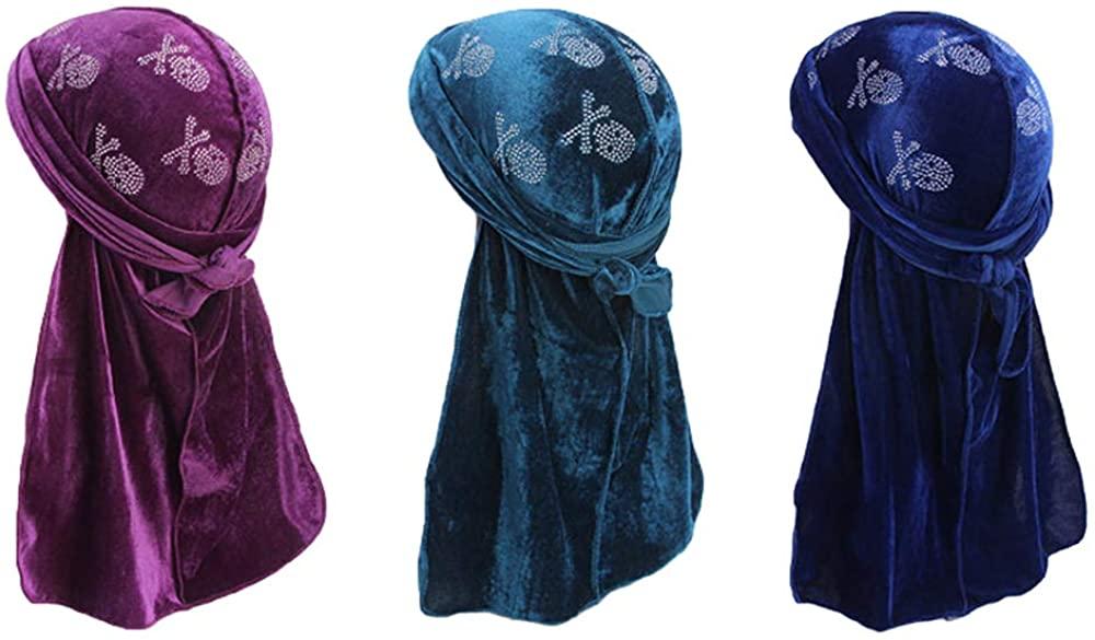 Star Satin Silk Head Wrap Durag Long Tail Beanies Cap Stretchable Velvet Durag Straps Headwraps for Men Women