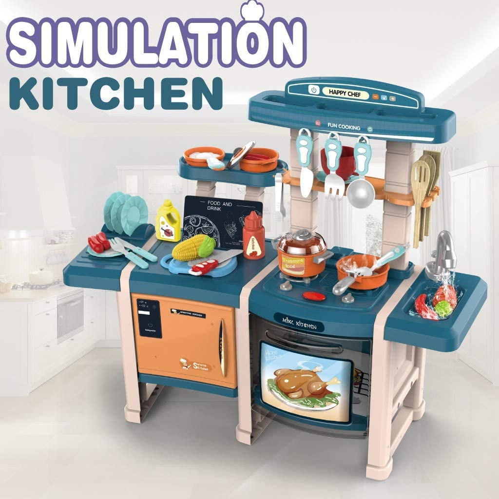 【US-IN-STOCK】Pretend Play Kitchen Set for Kids,Cooking Food Learn Smart Kitchen,Kitchen Playset with Realistic Lights & Sounds,Simulation of Spray,Toys for Toddlers,Miniature Chefs Roleplay Toy