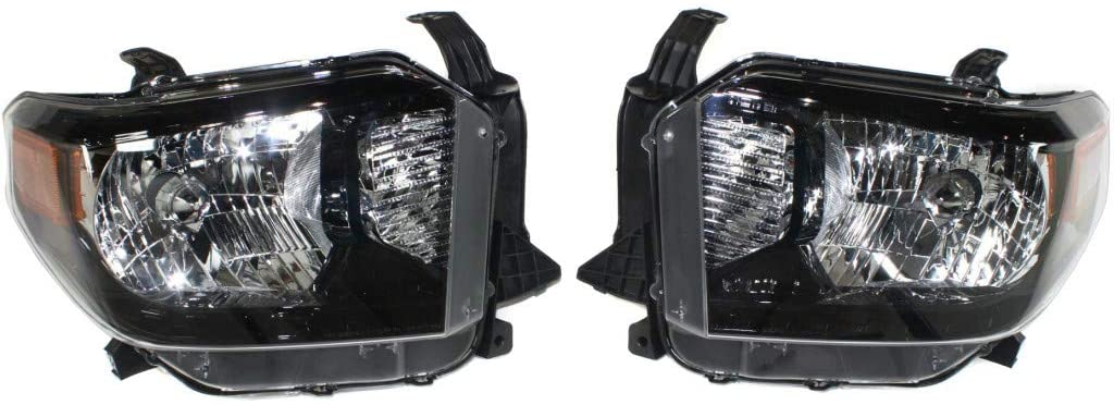 For Toyota Tundra Headlight Assembly 2014 2015 Clear Pair Black Interior | w/o LED Daytime Running Light TO2505125 |