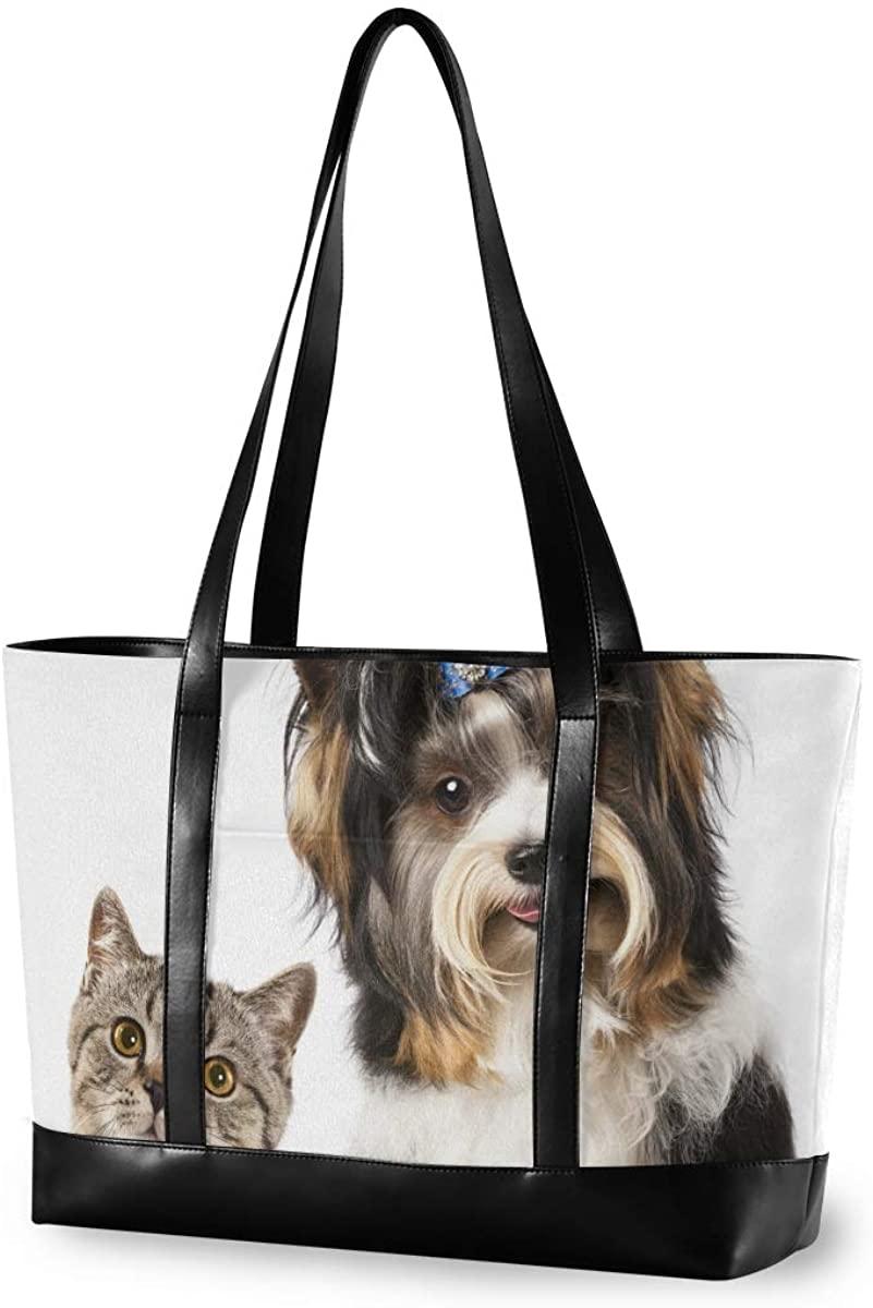 Women's Tote Shoulder Bag Cat And Dog Capacity Handbag