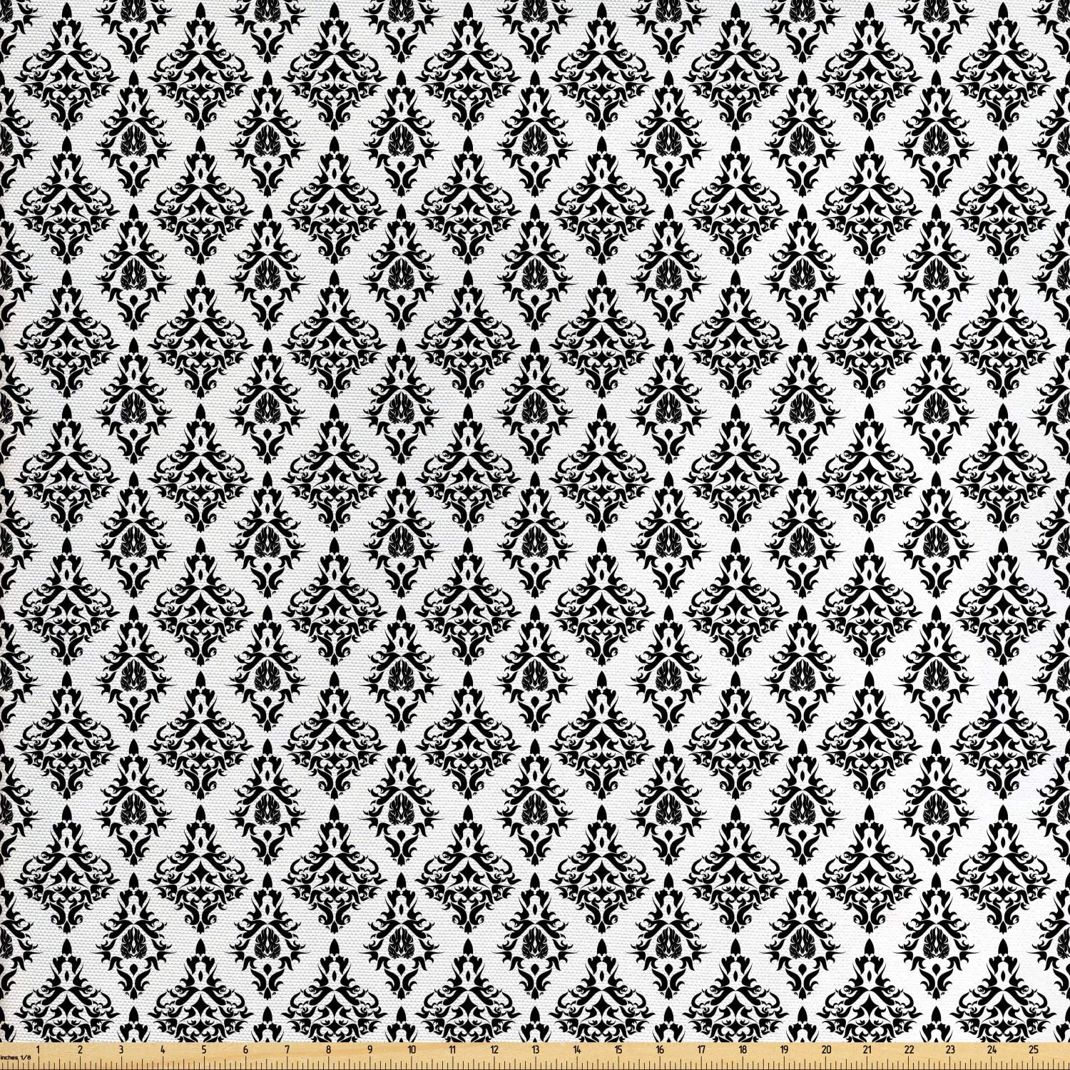 Ambesonne Damask Fabric by The Yard, Damask Pattern Tiles Interchangeable Retro Nostalgic Modern Baroque Stencil Art, Decorative Fabric for Upholstery and Home Accents, 1 Yard, Black White
