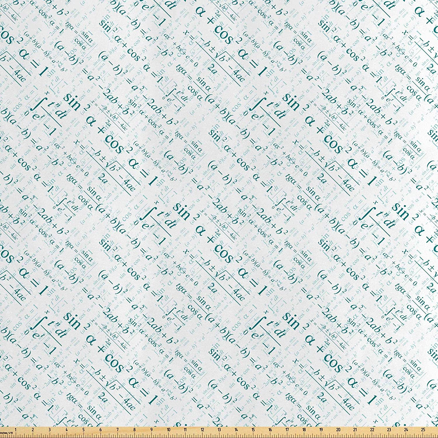 Lunarable Mathematics Classroom Fabric by The Yard, Various Complex Math Formulas Operations Science Education Research, Decorative Satin Fabric for Home Textiles and Crafts, 5 Yards, Teal White